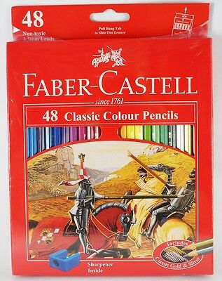 48 Classic Colour Faber-Castell Drawing Sketching Eco Pencils Free Sharpener