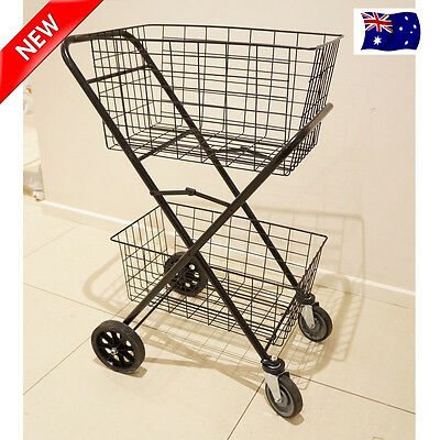 4 Wheels Shopping Trolley Collapsible Large Steel Double Basket Folding Cart