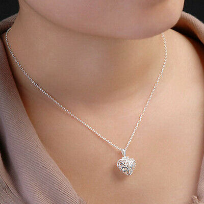 Stylish 925 Silver Plated Hollow Heart Locket Charm Pendant  Necklace Chain OE