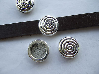 10pcs Antique Silver Swirl/Spiral Slider Spacer Beads For 5mm 10mm Flat Leather