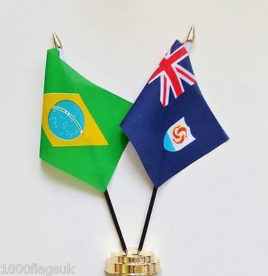 Brazil & Anguilla Double Friendship Table Flag Set