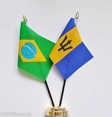 Brazil & Barbados Double Friendship Table Flag Set