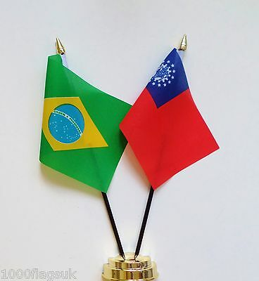 Brazil & Burma Double Friendship Table Flag Set