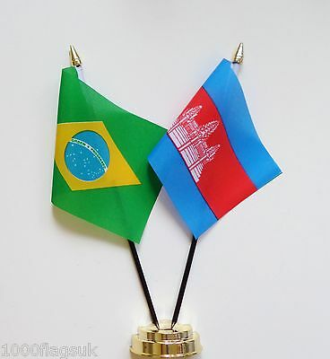 Brazil & Cambodia Double Friendship Table Flag Set