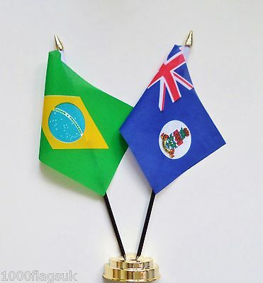 Brazil & Cayman Islands 1958 to 1999 Double Friendship Table Flag Set