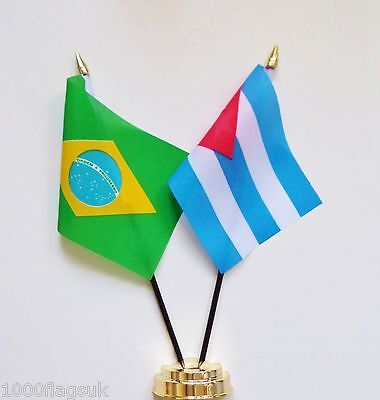 Brazil & Cuba Double Friendship Table Flag Set