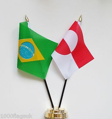 Brazil & Greenland Double Friendship Table Flag Set