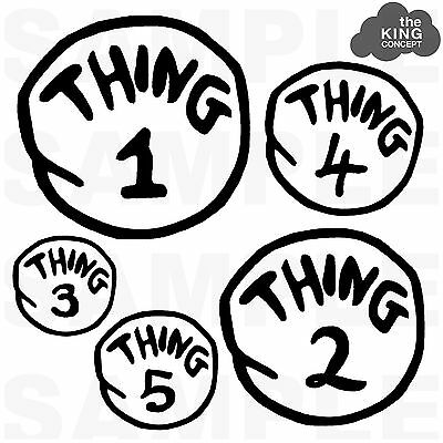 Thing 1 Iron On T-Shirt Transfer Thing 2 3 4 5 The Cat in The Hat Dr Zeuss Kids