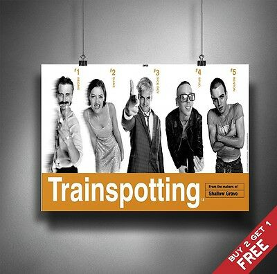 TRAINSPOTTING 1996 MOVIE POSTER A3 / A4 Classic Cult Movies Wall Art Print