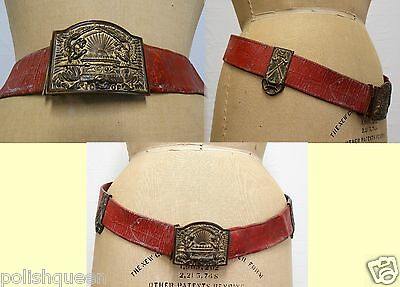 Antique Fraternal Order Brass Belt Buckle Belt Sword Belt Hartley & Graham Ny