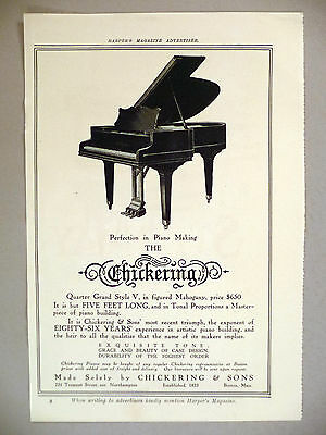 Chickering Piano PRINT AD - 1910