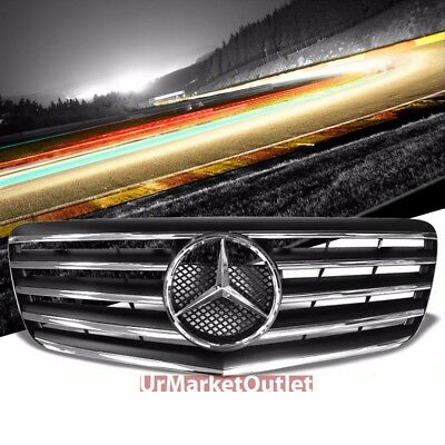 Front Up Black Chrome Fins Grille Grill for Mercedes Benz 07-09 08 W211 E-Class