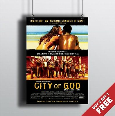 CITY OF GOD 2002 MOVIE POSTER A3 A4 * Classic Cult Movie Poster Prints Wall Art