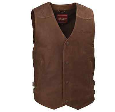 Indian Motorcycle Brown Leather Classic Vest Street Mens Snap Front Size Xl 2Xl