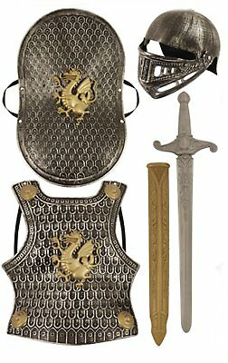Kids KNIGHTS Armour Dress up Set Costume Helmet Shield Sword Childrens outfit