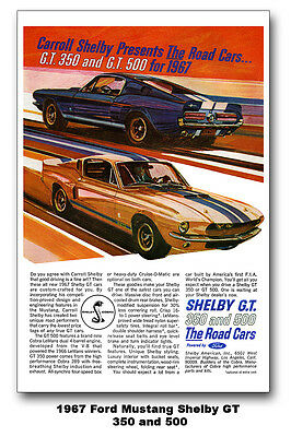13x19 1967 Ford Mustang Shelby GT 350 500 Ad Poster Art 67 Carroll 289 428 COBRA