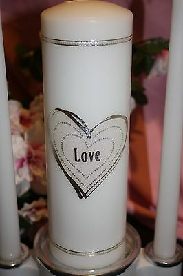 Iridescent Glittered Heart Wedding White Unity Candle Set Tapers