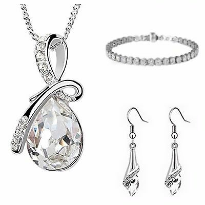Fashion Bridal Prom Wedding Diamante Jewelry Set Necklace+Earrings