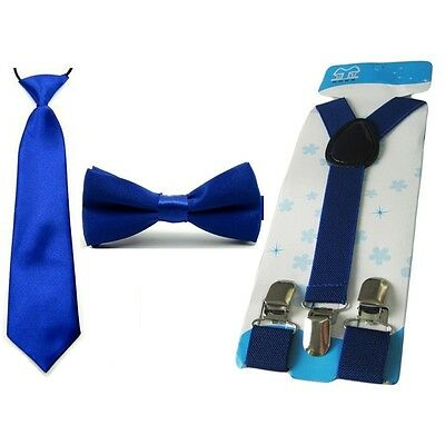 Child Kid School Boy Solid Tie Necktie Bowtie Elastic Y-Back Suspender Brace Set