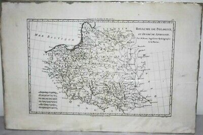 Antique 18c Map of POLAND AND LITHUANIA by M. Bonne 1787 - FREE Postage [PL1170]