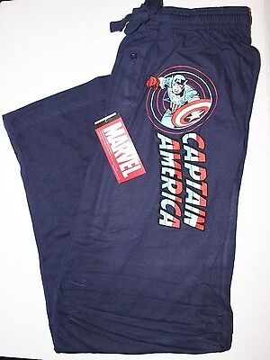 NEW Mens Captain America Navy Blue Pajama Lounge Pants Size Large