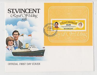 (H3-101) 1981 ST VINCENT FDC M/S royal wedding (CS)