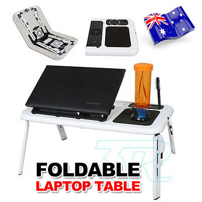 Portable Laptop Lap Desk With USB Cooling Fans Stand TV Tray Foldable Table Bed