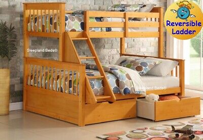 Pine Wooden Three Sleeper Triple Bunk Bed With Drawers | Double Under 3ft SIngle