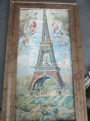Beautiful Old Print Of Eiffel Tower