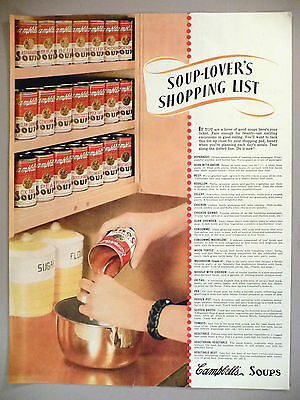 Campbell's Soup PRINT AD - 1938 ~ lists all 21 flavors