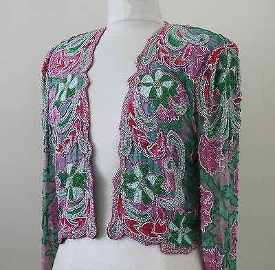 Jasdee Vintage Beaded Bolero Jacket Hand Work Hand Print On Silk Style 3071