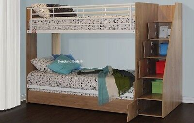Childrens Dynamo Bunk with Storage staircase and Trundle Bed