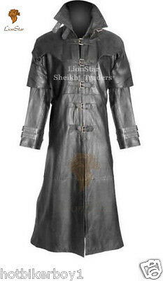 Unisex Real Leather Steampunk Gothic Matrix Black / Victorian Long Vampire Coat