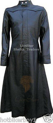Men's Real Leather Gothic Matrix Black / Victorian / Steampunk Long Trench Coat