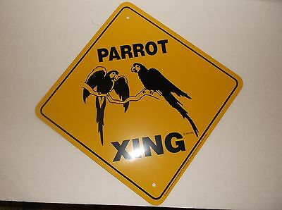 NEW 1994 Parrot Xing Yellow Black Metal Sign