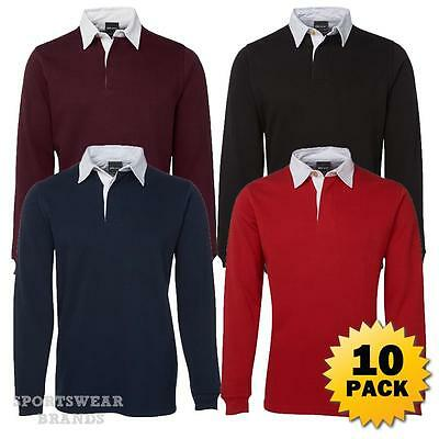 10 x Kids Rugby Pullover Polo Shirt Contrast Boys Girls Jumper Sports Warm 3KRG