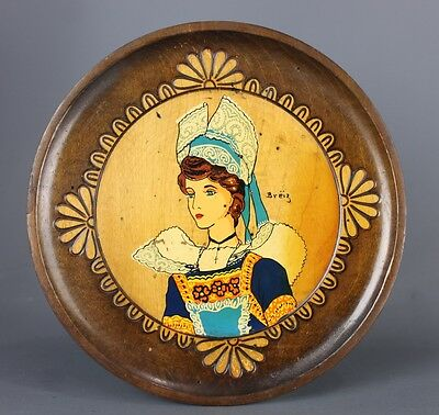 Vintage Brittany wood carved decorative Wall Plate marked breïz
