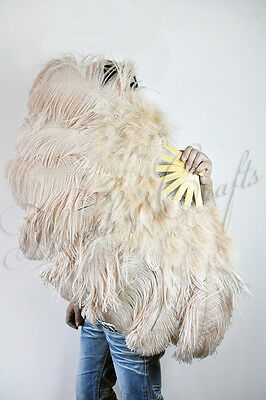 """Beige Camel Marabou & Ostrich Feather Fan 24""""x43"""" burlesque dance with gift box"""