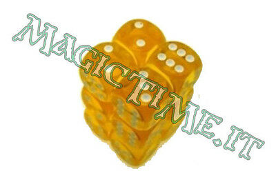 Set 12 dadi 16 mm CHESSEX Translucent Yellow White Giallo Bianco 23602 Dice CHX