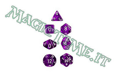 Set 7 dadi CHESSEX Translucent Purple w/White Trasp Viola Bianco 23007 Dice CHX