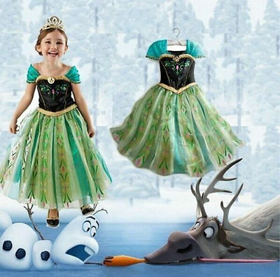 Halloween Girls Kids Princess Elsa Anna Cosplay Party Gown Fancy Dress Costume O