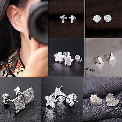 Hombre Mujer Pendientes De Botón Aretes Frosted Varias formas Ear Studs Earrings