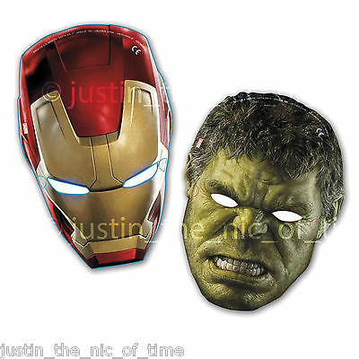 AVENGERS ASSEMBLE AGE OF ULTRON Boys Happy Birthday Paper Face Masks x6