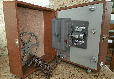 Working Vintage Keystone Sixty K 8mm Movie Reel Projector With Reel