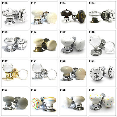 Huge Selection of Ceramic Glass Crystal Internal Turning Mortice Door Knobs Set