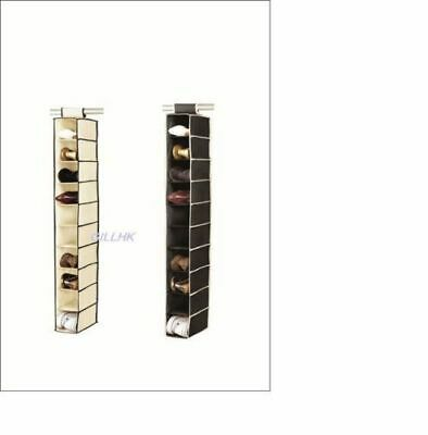 10 Shelf/ Section Hanging Wardrobe Shoe Garment Organiser Storage Clothes Tidy