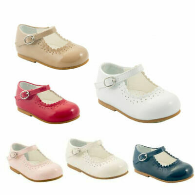 Sevva Girls Baby-Toddler Classic Spanish Style Walking Shoes Cream-Red-Pink-Navy
