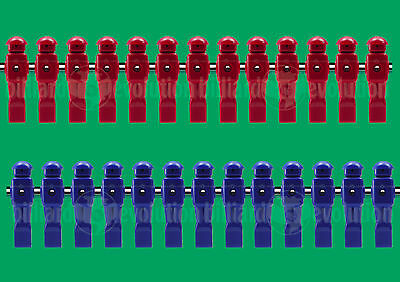 "Set of 26: 13 Red/13 Blue Dynamo Foosball Men will fit on a 5/8"" Foosball Rod"