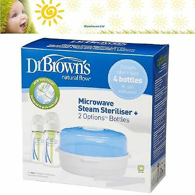 Dr Brown's Options Microwave Sterilizer with 2 x 270ml Natural Flow Bottles