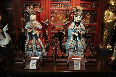 """Vintage Chinese Yellow Emperor & Empress Cloisonne Figurine 24"""" Tall"""